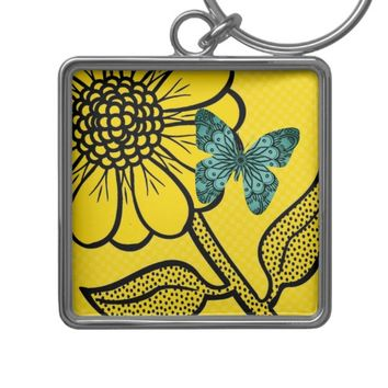 Daisy Butterfly Tropical Keyring Keychain