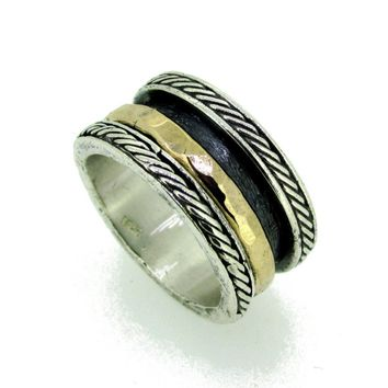 Hammered Silver and Gold Spinner Meditation Ring