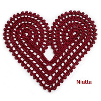 Heart Lace Motif Valentine Dark Red Crochet Doily Niatta