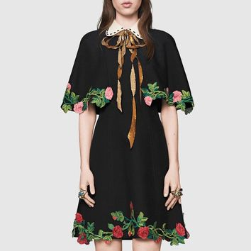 """Gucci"" Women Temperament Fashion Retro Lapel Short Sleeve Flower Embroidery Cloak Bow Mini Dress"