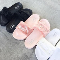 """PUMA"" Rihanna Fenty Leadcat Fur Slipper Shoes (5- colors) New (Apricot)"