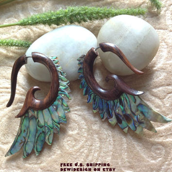 "Fake Gauge Earrings, ""Paua Wings II"" Handcrafted, Sono Wood, Paua Shell, Natural, Tribal"