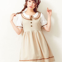 High quality summer women Japan brand short sleeve dress Lolita Princess Cute one piece dress Brown sweet dresses Mori girl OP