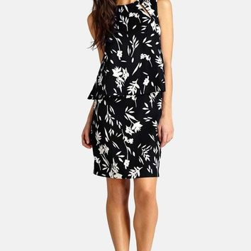 Donna Morgan - D3121M Sleeveless Floral Popover Dress