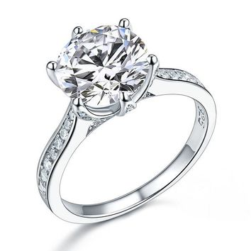 Ring. 925 Sterling Silver Luxury Wedding Engagement Ring 3 Carat Simulated Diamond Jewelry