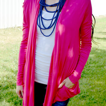 Flowing Pocket Cardigan - Fuchsia