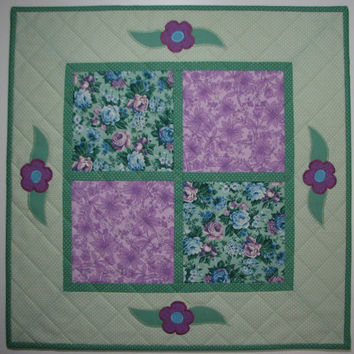 Quilted Table Topper , Springtime Floral , Appliqued Table Mat , Seafoam Green and Lavender Table Runner