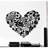 Wall Vinyl Decal I Love Sea Heart Turtle Anchor Fish Shell Jelly Fish Home Decor Unique Gift z4169