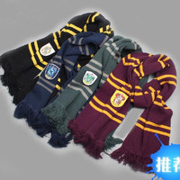 Harry Potter Gryffindor/Slytherin/ravenclaw/Hufflepuff Thicken Wool Knit Scarf Hat Cap Set Soft Harry college pinstripe thickening version