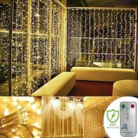 Curtain Lights, SurLight 9.8ft*9.8ft 304LEDs Window Icicle Lights with 8 Lighting Modes, Christmas LED String Fairy Wedding Light for Valentine's Day Holiday Wedding Xmas Party Wall Window, Warm White