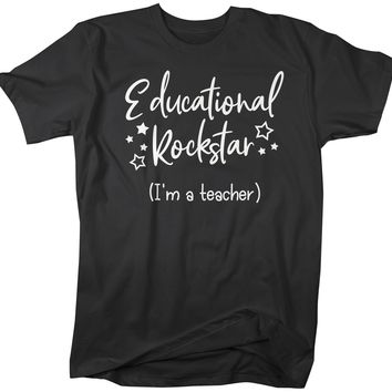 Men's Funny Teacher T Shirt Educational Rockstar Teaching Saying Tee Rock Star Teacher Gift Idea