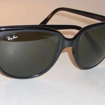 CIRCA 1980s BAUSCH & LOMB RAY-BAN MADE IN FRANCE BLACK G15 CATS 1000 SUNGLASSES