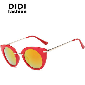 DIDI Hipster Red Frame Vintage Cat Eye Sunglasses Women Men Small Circle Lens Marble Print Sun Glasses Uv400 Culos Listrado W480
