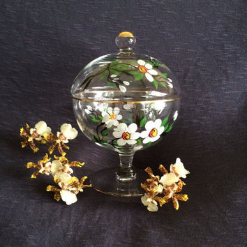 Hand Painted Floral Centerpiece Vintage Glass Candy Dish Lidded Compote Covered Pedestal Bowl Tea Light Candle Holder White Floral Dish