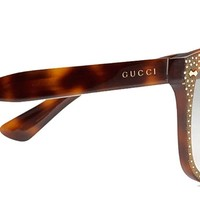 GUCCI RHINESTONE Crystal 3871 Square Havana Gold Frame RX Glasses GG3871S