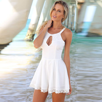 Cut Out Lace Patchwork Romper
