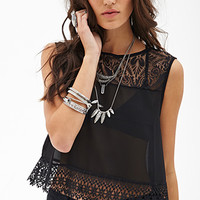 FOREVER 21 Sheer Lace & Crochet Top Black