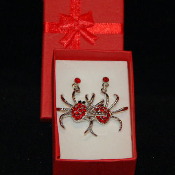 Spider Earrings, Halloween Earrings with Red Austrian Crystal and Black Stone Eyes. Red Stone Earrings, Silver Spider.Free Gift Box included