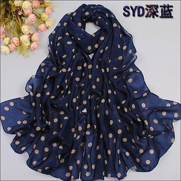Spring and autumn velvet chiffon scarf sunsreen cape beach towel polka dot silk scarf