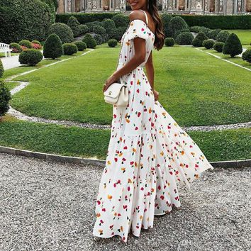 New women's dress sexy strapless tube top dresses long skirts printed dresse floral dress casual travel dresse catwalk party dress