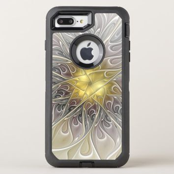 Flourish With Gold Modern Abstract Fractal Flower OtterBox Defender iPhone 8 Plus/7 Plus Case