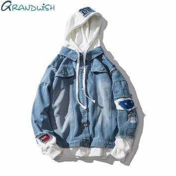 Trendy Grandwish Oversize Denim Jeans Jacket Men 2018 Spring Mens Hooded Jackets Jeans Plus Size 3XL Hip Pop Jeans Jacket Male ,DA572 AT_94_13