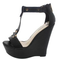 Sexy Black Leather Ankle Strap Platform Wedges