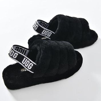 """UGG"" Hight Quality Fashionable Women Cute Fluff Yeah Slippers Shoes Black I/A"