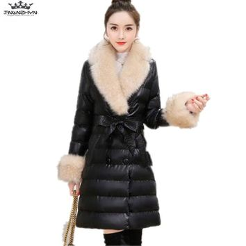 tnlnzhyn 2017 New Winter Women Leather Jacket Fashion Thick Large Fur Collar Down Cotton Leather Coats Slim PU Coats Y782