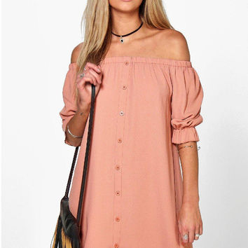 Pink Off the Shoulder Single Breasted Shift Dress