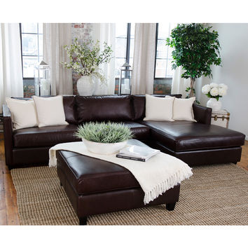 Urban Top Grain Leather Right Arm Chaise Sectional Square Ottoman Cappuccino
