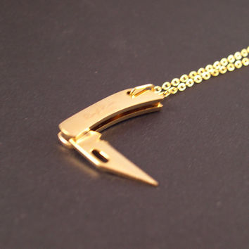 REAL Working Golden Tiny Folding Knife Necklace
