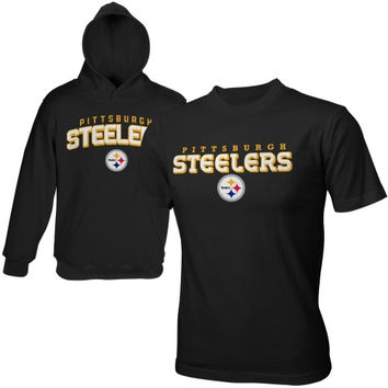 Pittsburgh Steelers Youth Team Name Fleece Pullover Hoodie & T-Shirt Set - Black - http://www.shareasale.com/m-pr.cfm?merchantID=7124&userID=1042934&productID=520992595 / Pittsburgh Steelers
