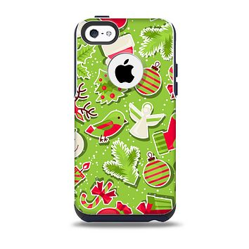 Red and Green Christmas Icons Skin for the iPhone 5c OtterBox Commuter Case