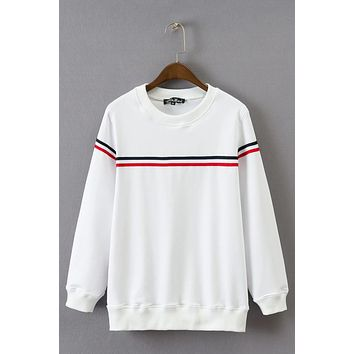 Stripe Slim Pure Color Long Sleeves Sweatshirt