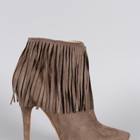Suede Fringe Pointy Toe Stiletto Booties