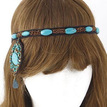 Beaded Turquoise Headband