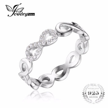 JewelryPalace Infinity Forever Love Cubic Zirconia Anniversary Promise Ring Pure 925 Sterling Silver Jewelry For Women Gift