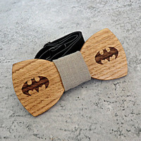 Batman Bow Tie Groomsmen gift Batman gift Valentines gift for him Wedding Gift for Mens Wooden Bow Tie Groom gift Boyfriend gift fathers day