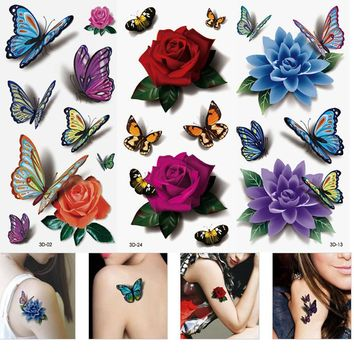 3PCS Temporary Tattoos Women's 3D Tattoo Sleeve Colorful Waterproof Tattoos Body Lip Art DIY Stickers For Body Mini Rose 3Styles
