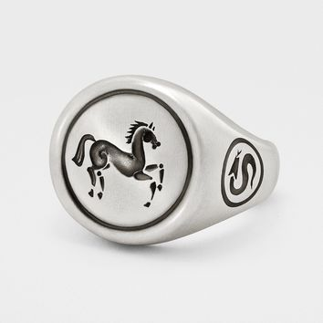 Horse Signet Ring in Sterling Silver