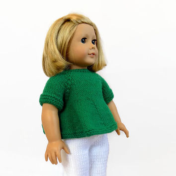Doll Clothes, 18 Inch Doll Sweater, Knit Doll Leggings