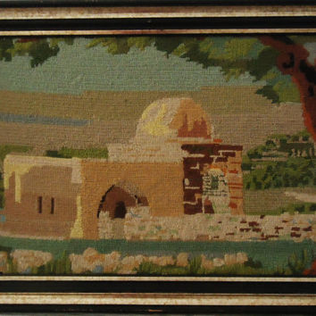 Holy Land Mosque Vintage Hand Made Fine Stitched Needlepoint Israel Art Framed Embroidery