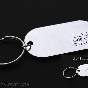 Double Sided One Day At A Time Keychain with Custom Date and Name, I'm Proud of You, Personalized Recovery Gift