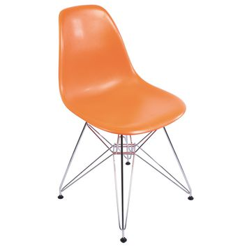 Eames Style Side Chair, Orange with Metal Base