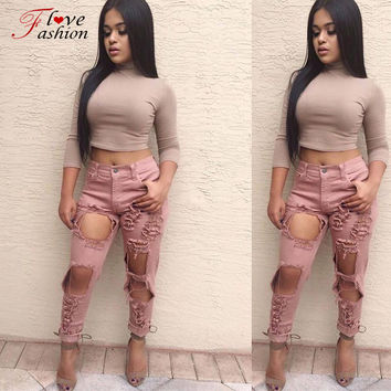 2016 punk street style women's ripped destroyed stretch skinny jeans pants trousers for women ferminio Army Green