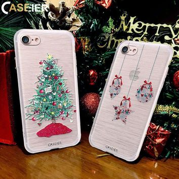 CASEIER Christmas Case For iPhone X 6 6s Plus New Year Gift Soft TPU Cover For iPhone 6 6s Plus X 3D Painting Cases Fundas Capa