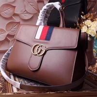 GUCCI WOMEN'S GG LEATHER HANDBAG INCLINED SHOULDER BAG