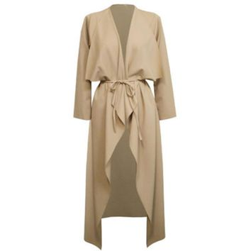 Plus Size S-3XL Womens Ladies Casual Long Sleeve Slim Fit Waterfall Long Belted Cardigan Duster Coat Jacket Overalls Outwear