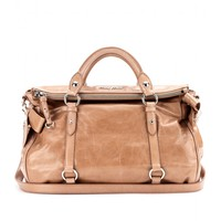BOW GLAZED LEATHER TOTE